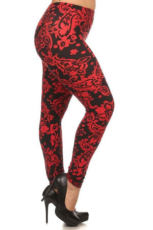 Red Baroque Me Design Plus Size Leggings - Niobe Clothing - 2