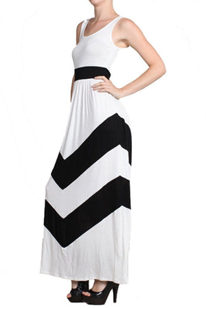 Sleeveless White Scoop Neck Chevron Striped Maxi Dress-dress-Niobe Clothing