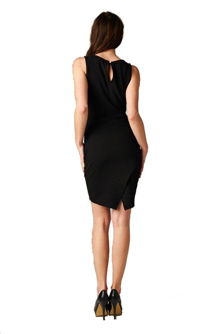 Studded Neck Sheath Black Mini Fitted Dress dress- Niobe Clothing