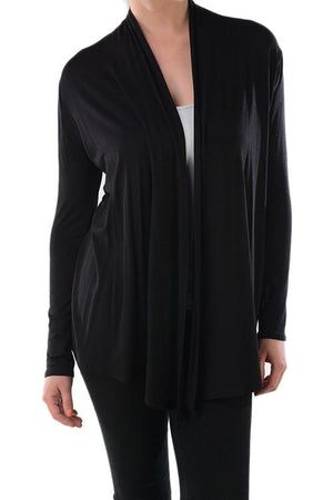 Rayon Span Open Long Sleeve Cardigan (Multiple Colors Available) - Niobe Clothing - 1