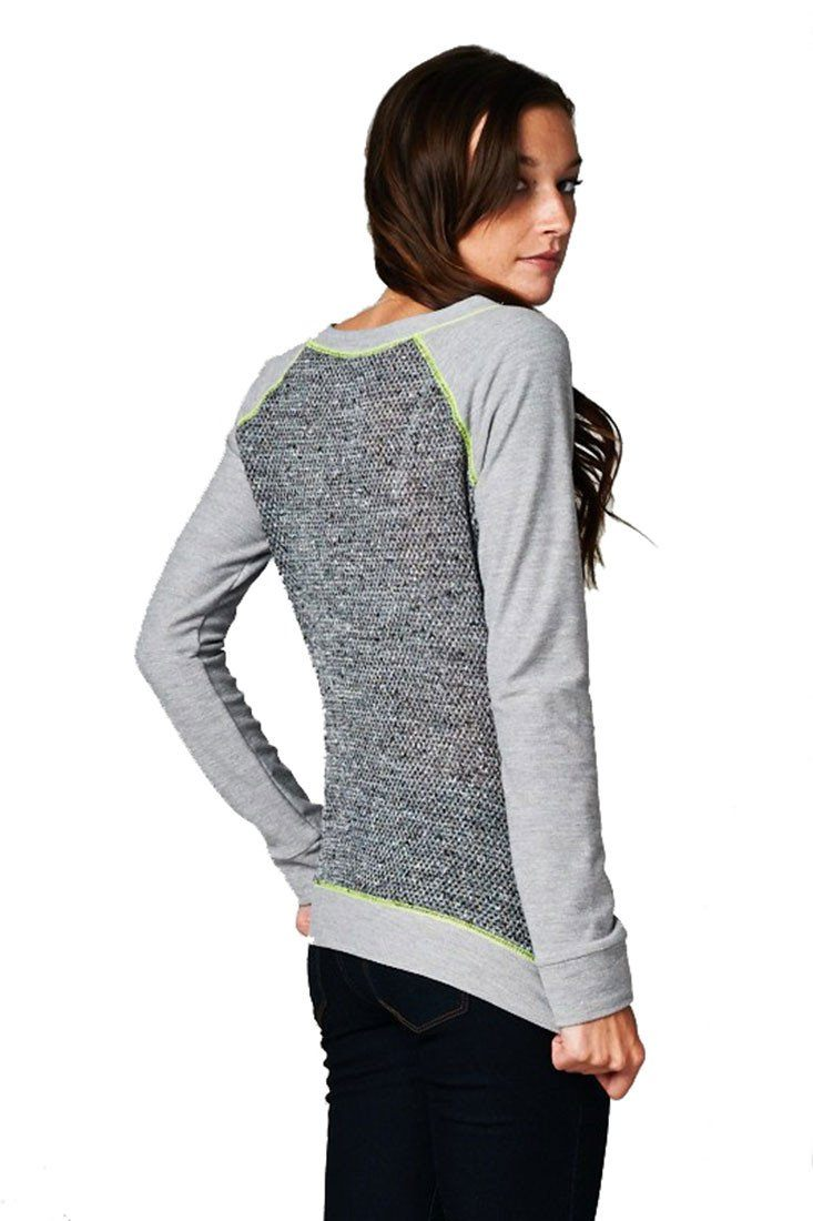 French Terry Long Sleeve Neon Accent Shirt Top (Grey) - Niobe Clothing e937c18f4be