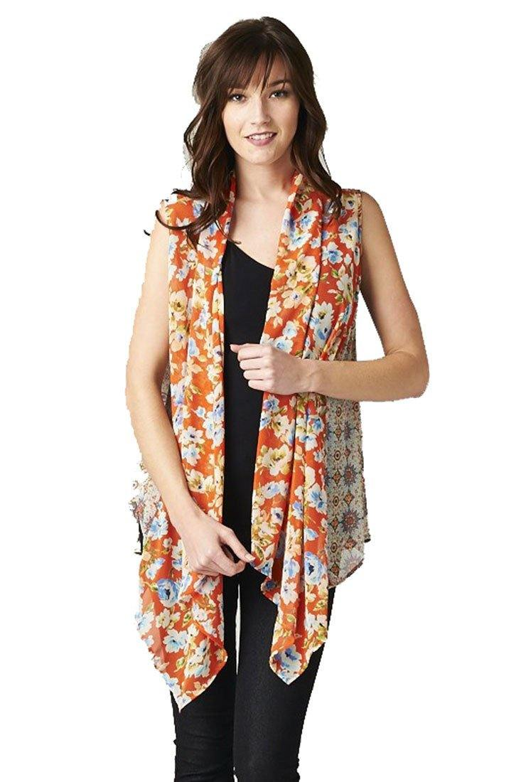 Floral Medallion Orange Multi Color Chiffon Sleeveless Top Blouse Tops- Niobe Clothing