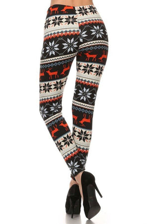 Red Reindeer Multicolor Graphic Print Lined Leggings - Niobe Clothing - 2