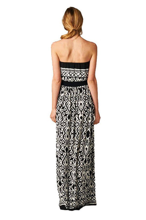 Strapless Baroque Damask Design Maxi Dress-dress-Niobe Clothing