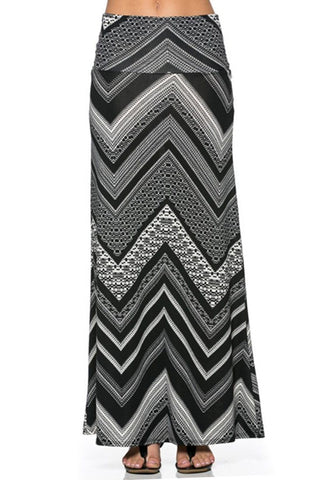 Black Chevron Printed Maxi Skirt