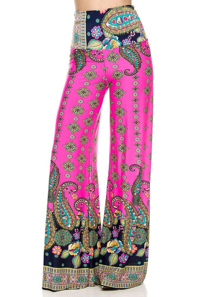 High Waist Fold Over Wide Leg Lounge Palazzo Pants (Pink Floral) - Niobe Clothing - 1