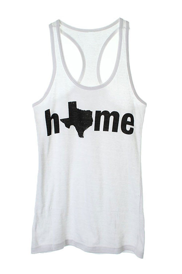Texas is Home Tank (White) Tops- Niobe Clothing