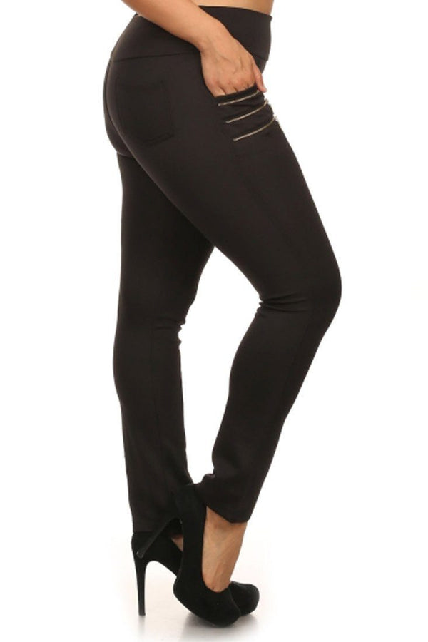 Zipper Embellished Plus Size Skinny Pants leggings- Niobe Clothing