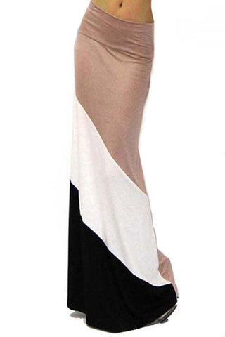 Form Fitting Waist Tri Colorblock Maxi Skirt (Multiple Colors Available) - Niobe Clothing - 6