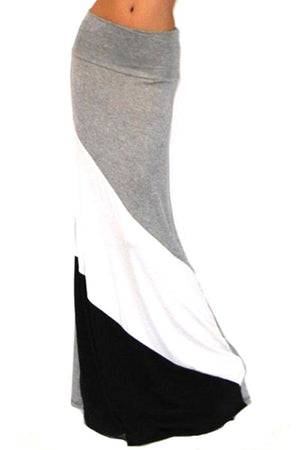 Form Fitting Waist Tri Colorblock Maxi Skirt Skirts- Niobe Clothing