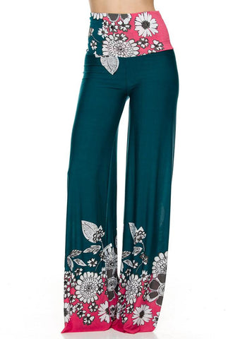 High Waist Fold Over Wide Leg Gaucho Palazzo Pants (Green Pink Floral)