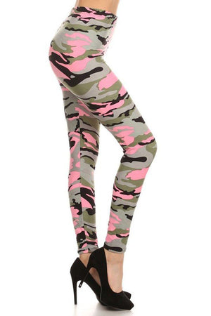Light Pink Army Graphic Print Lined Leggings leggings- Niobe Clothing