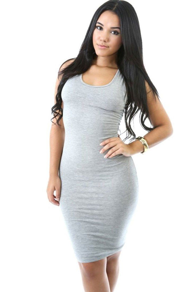 Scoop Tank Jersey Solid Color Bodycon Midi Dress - Niobe Clothing - 1