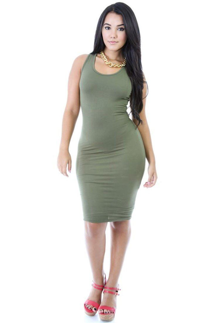 Scoop Tank Jersey Solid Color Bodycon Midi Dress dress- Niobe Clothing
