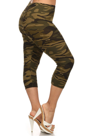 Army Design Plus Size Capri Leggings leggings- Niobe Clothing
