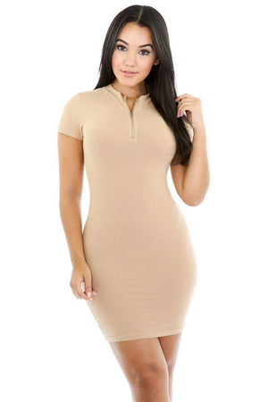 Front Zipper Solid Color Bodycon Mini Dress dress- Niobe Clothing
