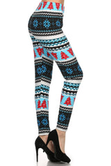 Blue Snowflake Trees Design Leggings leggings- Niobe Clothing