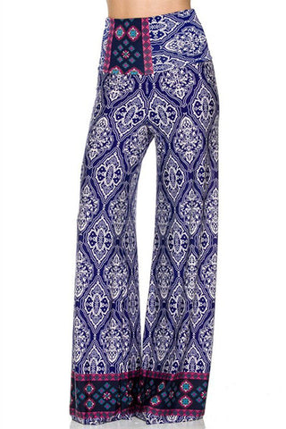 High Waist Fold Over Wide Leg Gaucho Palazzo Pants (Royal Damask) - Niobe Clothing - 1
