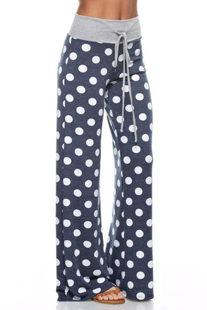 Polka Dot Casual Lounge Pants in Navy pants- Niobe Clothing