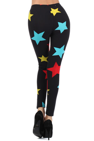 Black Multi Stars Graphic Print Lined Leggings leggings- Niobe Clothing