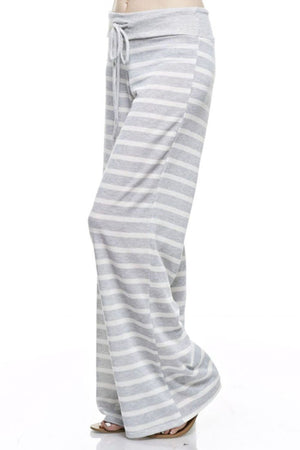 Stripe Print Casual Lounge Pants in Heather Grey pants- Niobe Clothing