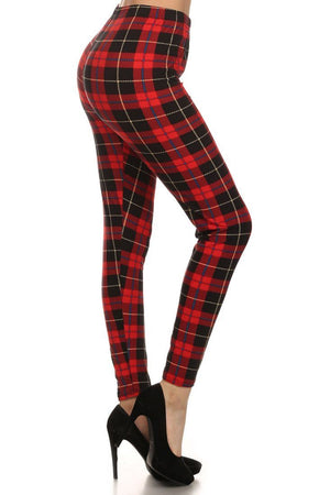 Red Plaid Design Leggings leggings- Niobe Clothing