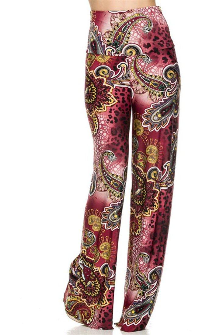 High Waist Fold Over Wide Leg Palazzo Pants (Burgundy Leopard) pants- Niobe Clothing