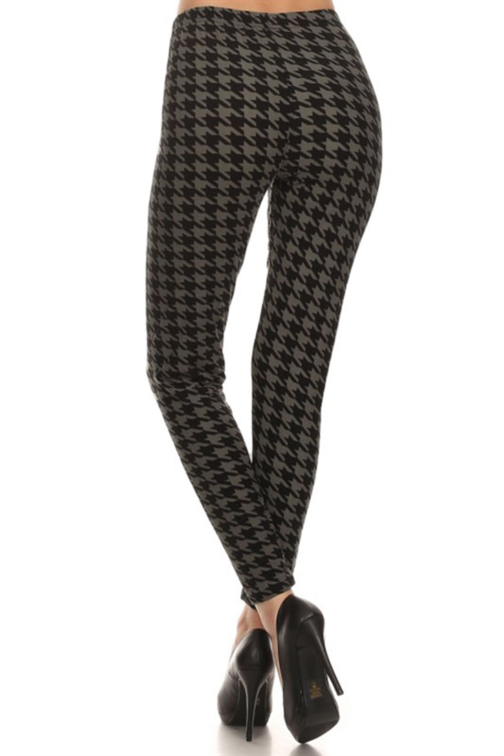 Black Grey Geo Houndstooth Leggings leggings- Niobe Clothing