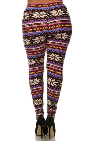 Multicolor Snowflakes Design Plus Size Leggings-leggings-Niobe Clothing