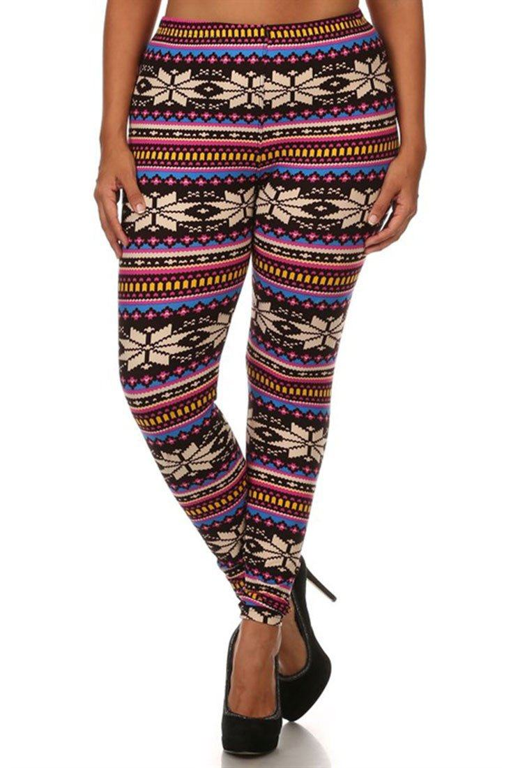 Multicolor Snowflakes Design Plus Size Leggings - Niobe Clothing - 2