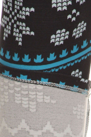 Teal Pixel Snowflakes Design Plus Size Leggings-leggings-Niobe Clothing
