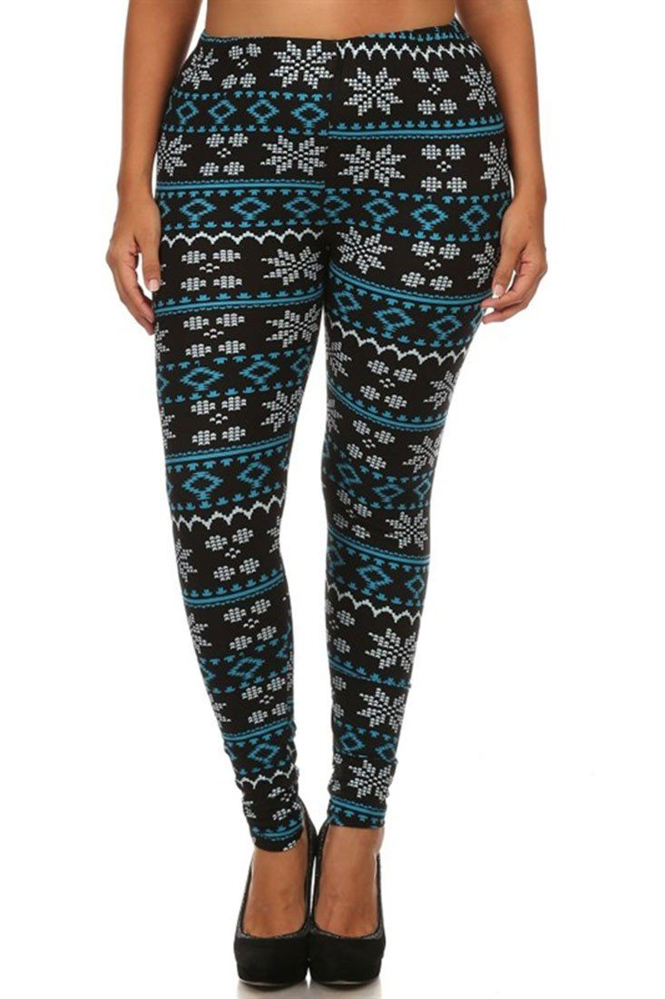 Teal Pixel Snowflakes Design Plus Size Leggings leggings- Niobe Clothing