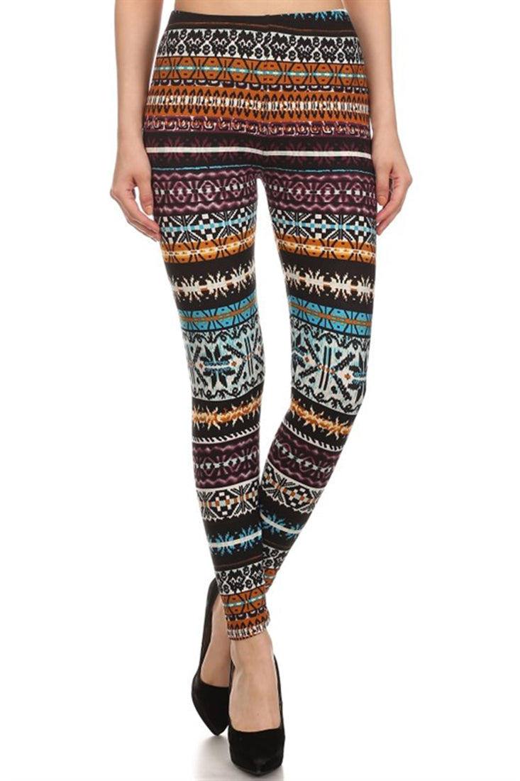 Multi Static Snowflake Design Leggings leggings- Niobe Clothing