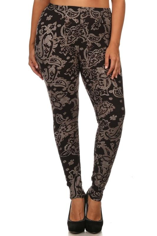 Baroque Me Design Plus Size Leggings leggings- Niobe Clothing