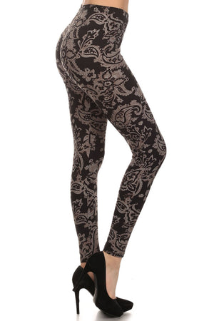 Baroque Me Graphic Print Lined Leggings leggings- Niobe Clothing