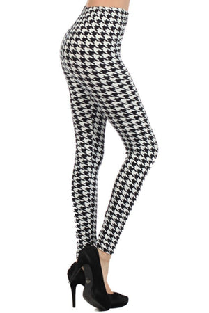 Black/White Houndstooth Design Leggings leggings- Niobe Clothing