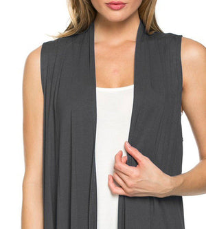 Solid Color Sleeveless Asymmetric Hem Open Front Cardigan (Dark Grey) - Niobe Clothing - 1