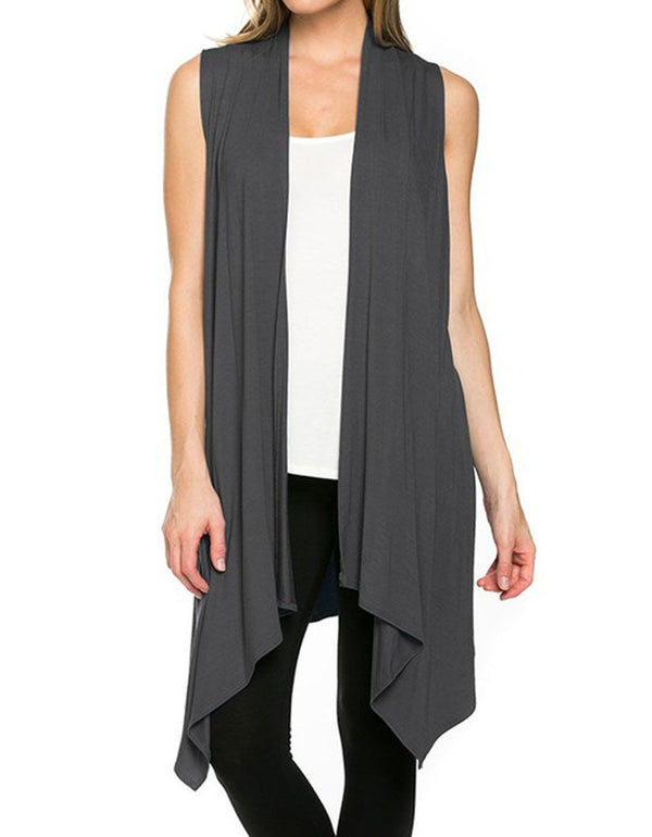 Solid Color Sleeveless Asymmetric Hem Open Front Cardigan (Dark Grey) Cardigans- Niobe Clothing