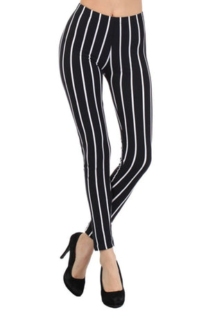 Pinstripe Design Leggings leggings- Niobe Clothing