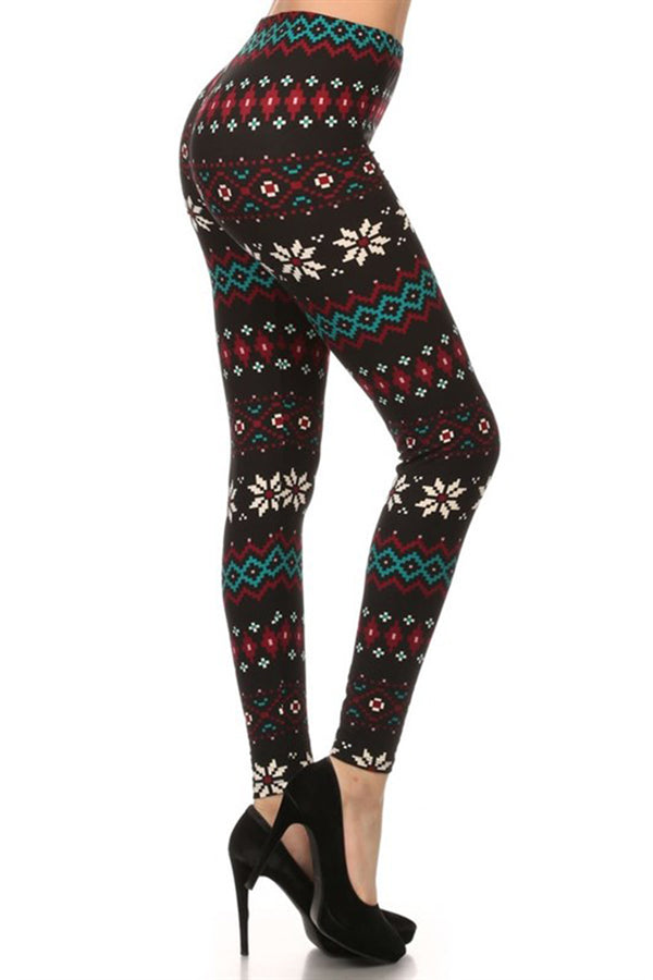 Black Multi Pixel Snowflake Design Leggings leggings- Niobe Clothing