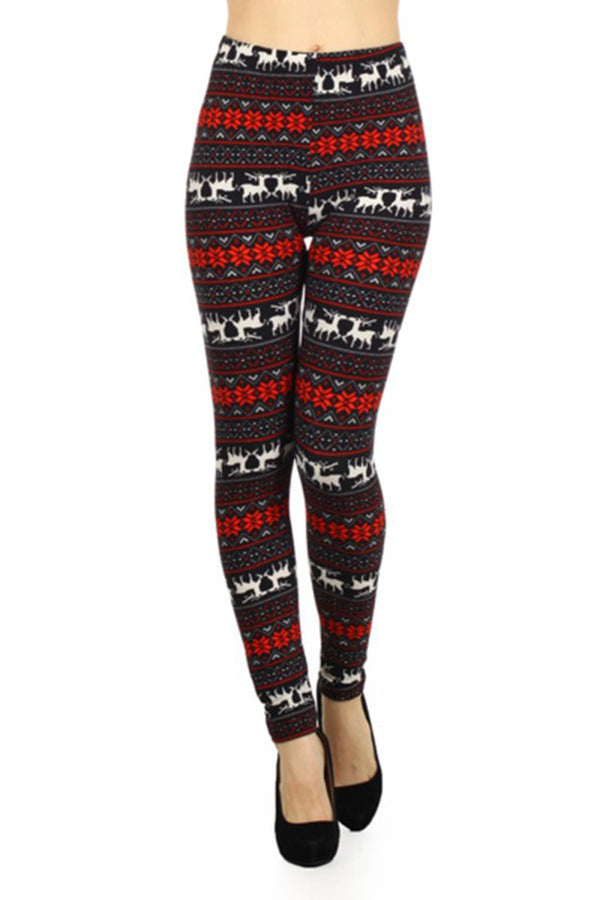 Black Red Reindeer Snowflake Design Leggings leggings- Niobe Clothing