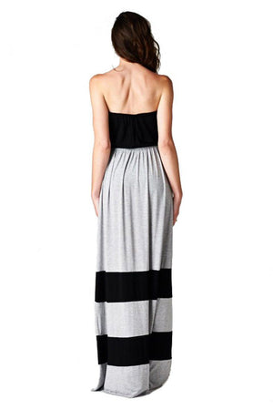Strapless Colorblock Black Grey Tube Top Maxi Dress - Niobe Clothing - 1