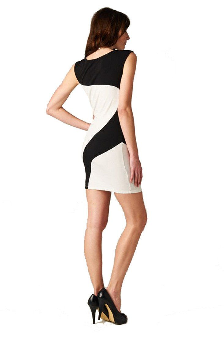 Black White Color Contrast Bodycon Cocktail Dress w/ Necklace dress- Niobe Clothing