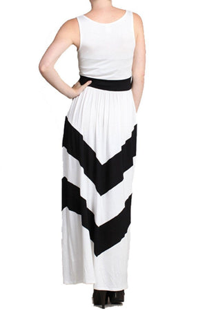 Sleeveless White Scoop Neck Chevron Striped Maxi Dress - Niobe Clothing - 1