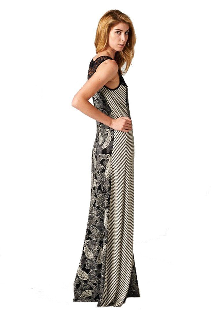 Sleeveless Black White Paisley Striped Mixed Media Lace Maxi Dress dress- Niobe Clothing