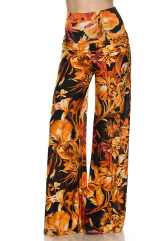 High Waist Fold Over Wide Leg Gaucho Palazzo Pants (Sunset Fire)
