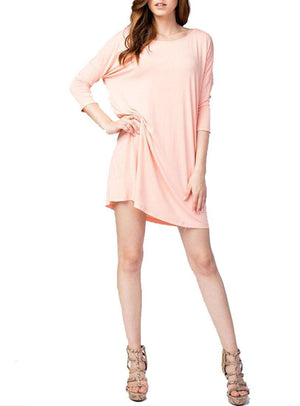 Bamboo Fiber Knit Elbow Sleeve Boat Neck Dress (Salmon) dress- Niobe Clothing