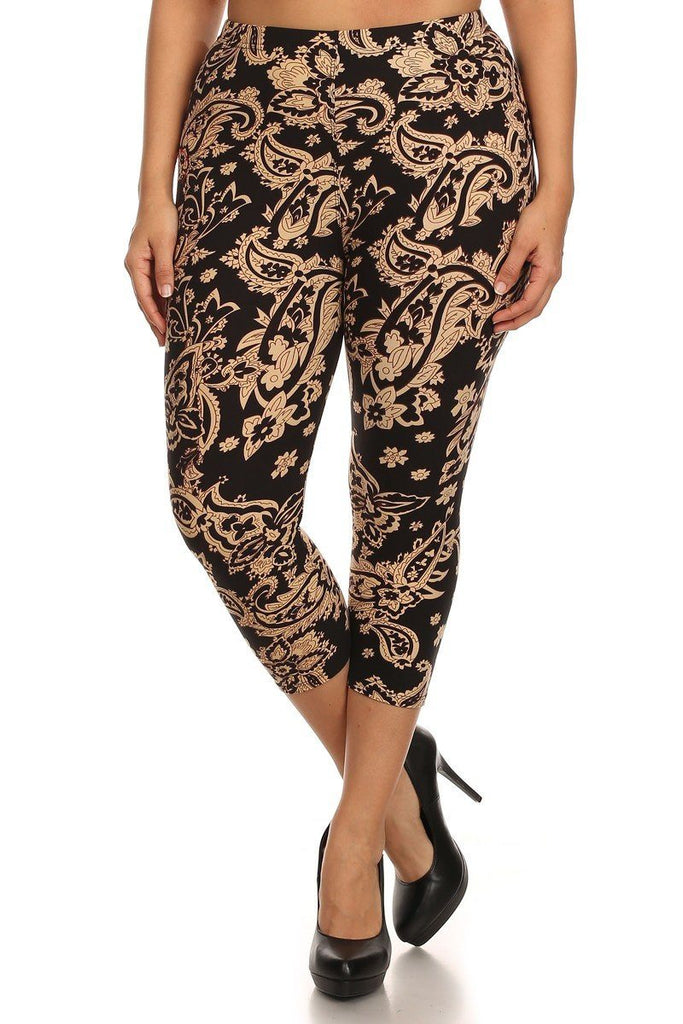 Baroque Me Again Design Plus Size Capri Leggings - Niobe Clothing - 1