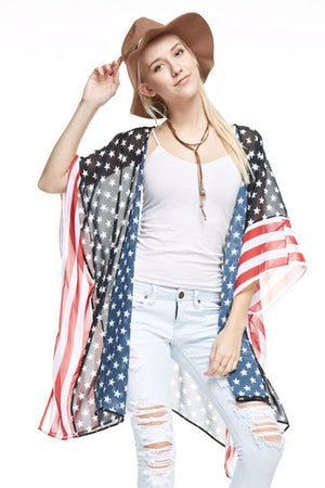 Stars & Stripes Sheer Kimono Cardigan Cover Up