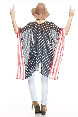 Stars & Stripes Sheer Kimono Cardigan Cover Up Cardigans- Niobe Clothing